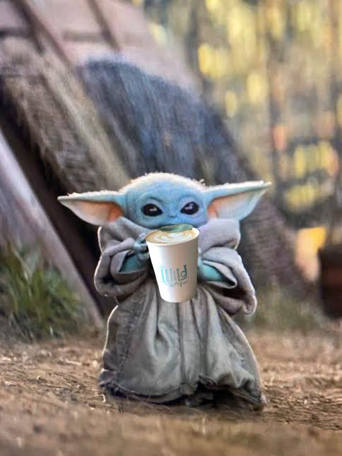 baby yoda drinking Wild Way Coffee