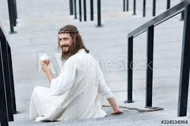 Blurry pic of Jesus drinking coffee