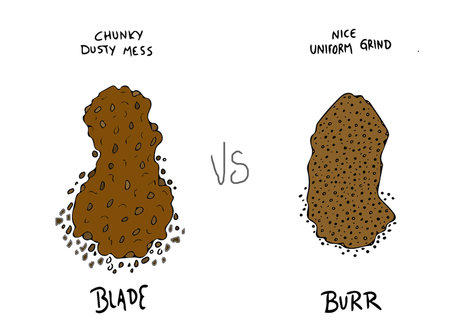 Picture of burr grinds v blade grinds