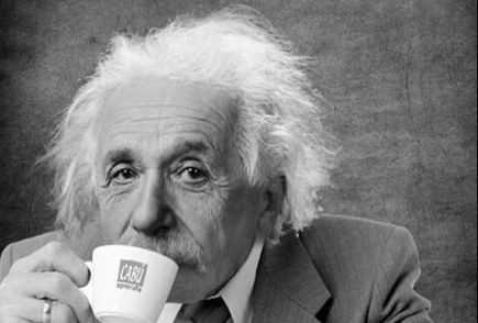 Albert Einstein drinking coffee
